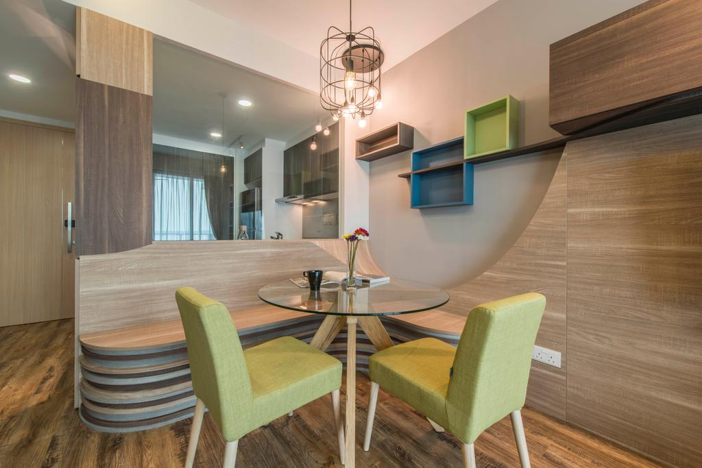 Contemporary, Condo, Dining Room, Ripple Bay, Interior Designer, Yonder, Industrial Lighting, Storage, Wall Shelves, Laminated Wood, Funky Storage, Wooden Divider, Chair, Furniture, Indoors, Interior Design, Room, Dining Table, Table, Plywood, Wood, HDB, Building, Housing, Loft
