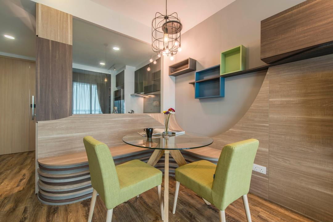 Ripple Bay, Yonder, Contemporary, Dining Room, Condo, Industrial Lighting, Storage, Wall Shelves, Laminated Wood, Funky Storage, Wooden Divider, Chair, Furniture, Indoors, Interior Design, Room, Dining Table, Table, Plywood, Wood, HDB, Building, Housing, Loft