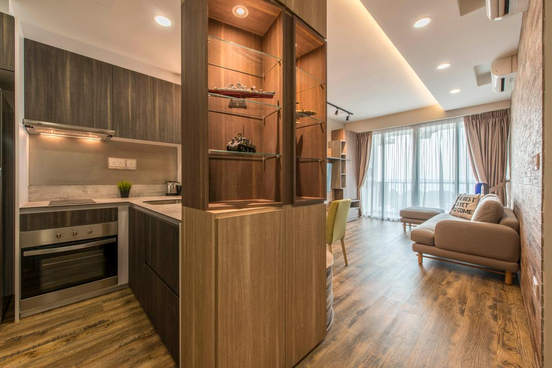 Ripple Bay, Yonder, Contemporary, Kitchen, Condo, Storage, Wood Divider, Wooden Shelves, Sling Curtain, Laminated Wood, False Ceiling