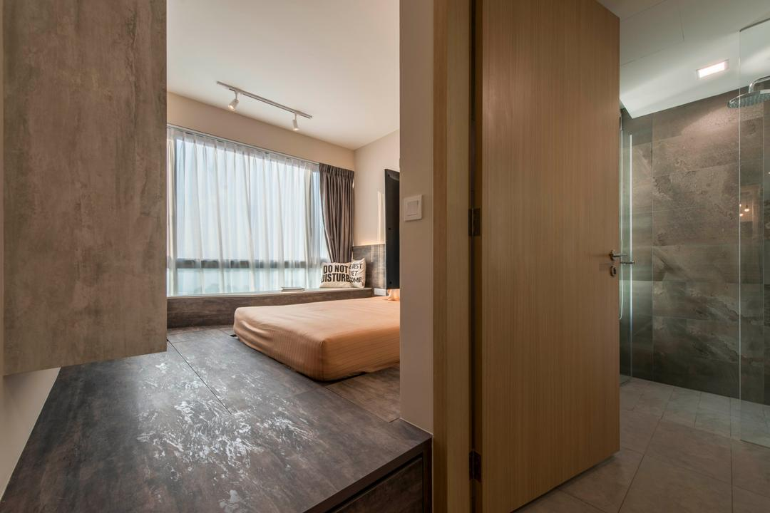 Ripple Bay, Yonder, Contemporary, Bedroom, Condo, Bed Platform, Storage, Laminated Wood, Smart Storage, Cosy, Sling Curtain, HDB, Building, Housing, Indoors