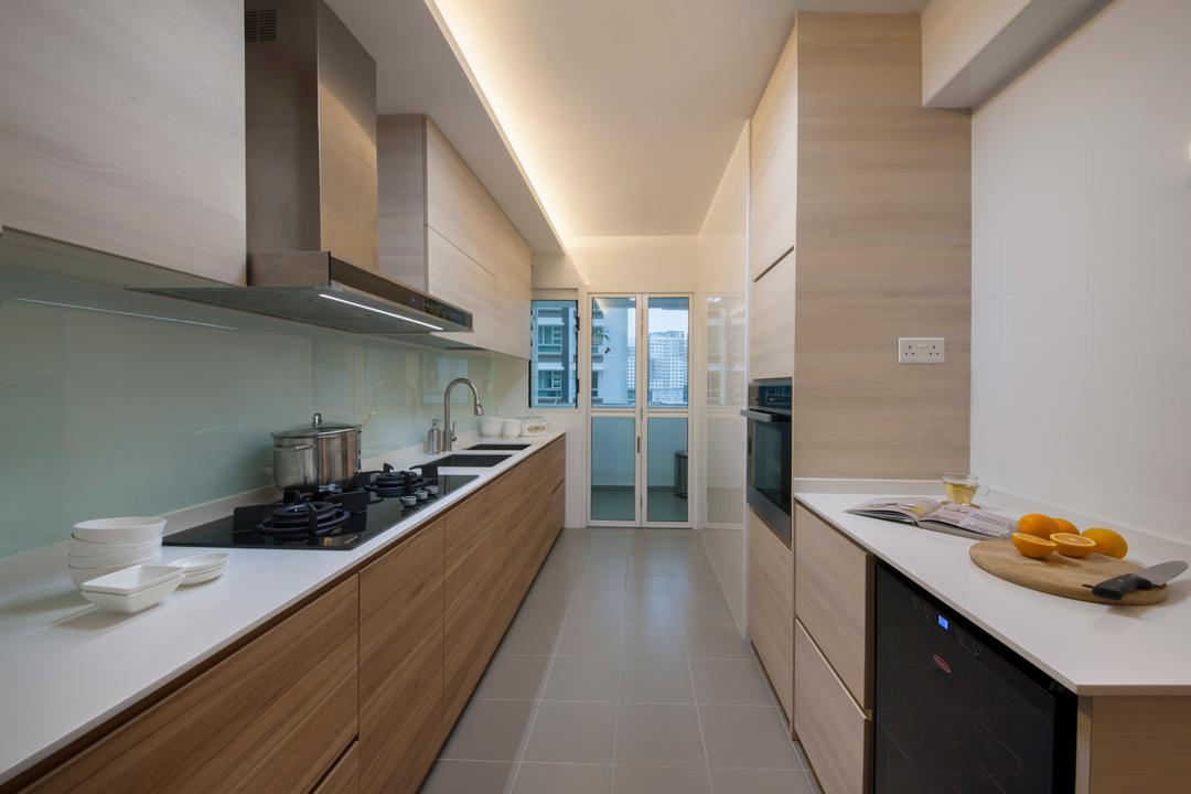 Edgefield Plains, Schemacraft, Minimalistic, Kitchen, Condo, Modern Kitchen, Kitchen Glass Panel, Built In Appliance, Carpentry, False Ceiling, Cove Lighting, Appliance, Electrical Device, Oven, HDB, Building, Housing, Indoors, Loft, Interior Design, Room