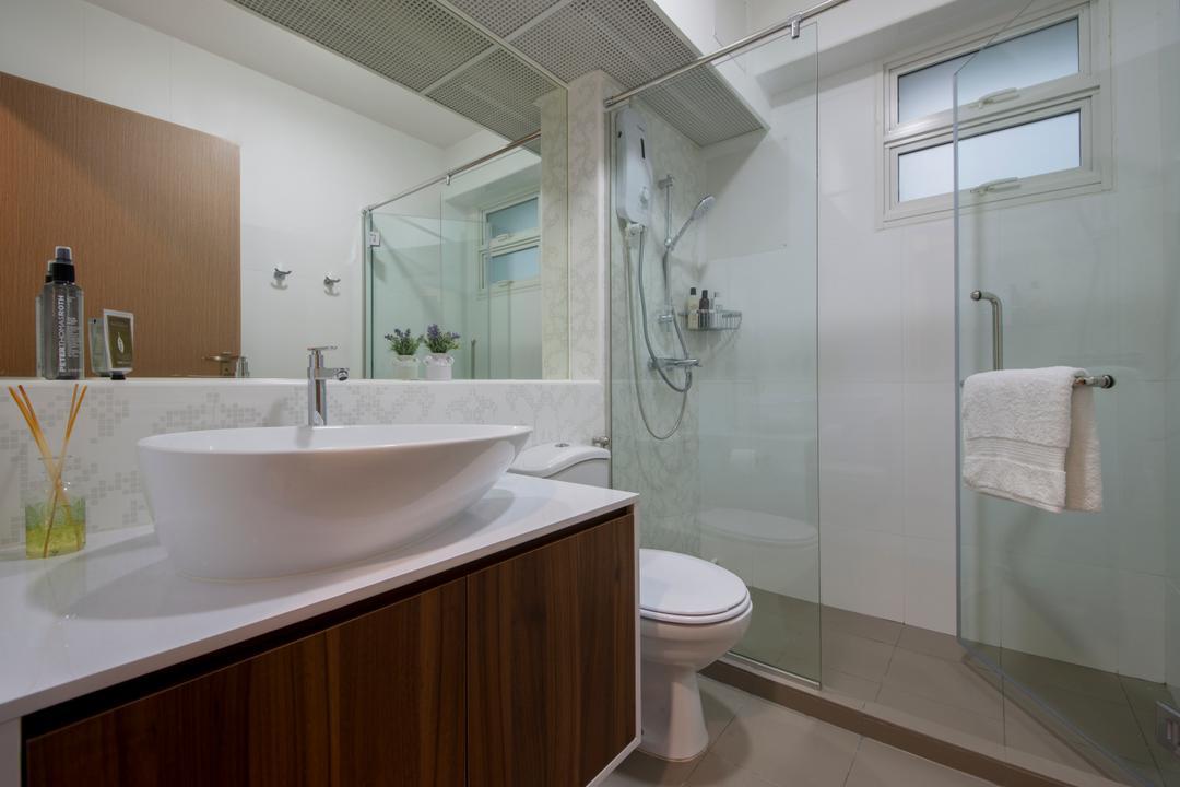 Edgefield Plains, Schemacraft, Minimalistic, Bathroom, Condo, Vessel Sink, Sink Countertop, Shower Glass Panel, Marble Tiles, Toilet, Towel, Indoors, Interior Design, Room