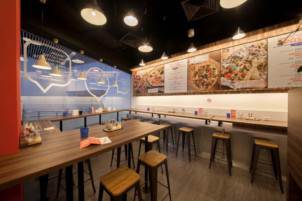 Bockers & Co, Commercial, Interior Designer, Schemacraft, Industrial, Bockers Co, Pizza Restaurant, Wooden Table, Wooden Stool, Laminated Wood, Pizza Menu, Pendant Lighting, Food, Pizza, Dining Table, Furniture, Table, Food Court, Restaurant