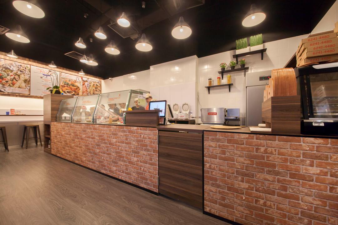 Bockers & Co, Schemacraft, Industrial, Kitchen, Commercial, Bockers Co, Pizza Restaurant, Brick Wall, Counter, Pizza Menu
