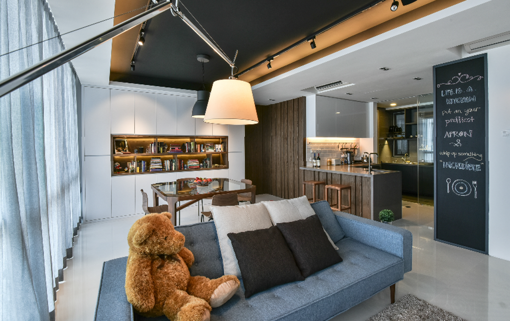 Industrial, Condo, Living Room, The Capers, Interior Designer, Surface R Sdn. Bhd., Modern, Blackboard, Teddy Bear, Toy, Couch, Furniture, Indoors, Interior Design