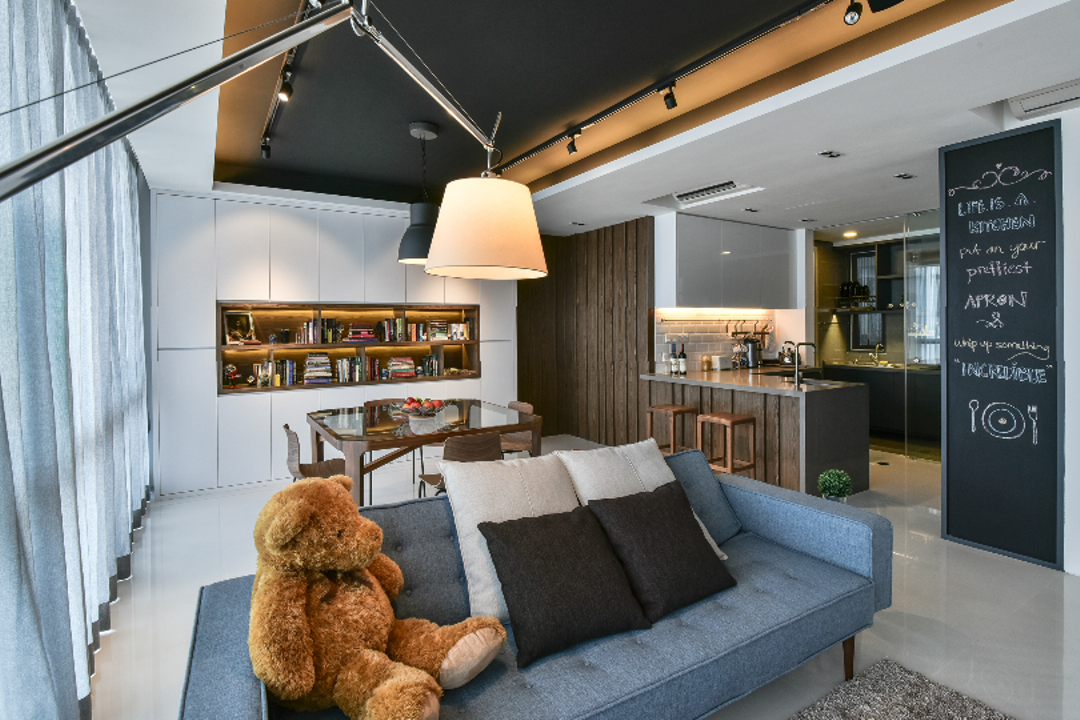 The Capers, Surface R Sdn. Bhd., Industrial, Modern, Living Room, Condo, Blackboard, Teddy Bear, Toy, Couch, Furniture, Indoors, Interior Design