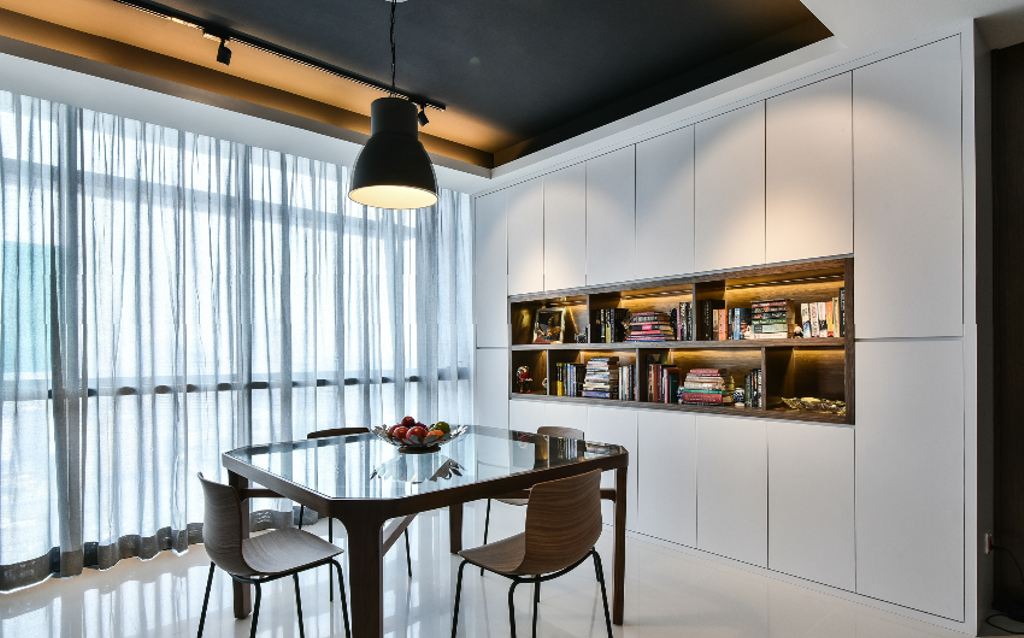Industrial, Condo, Dining Room, The Capers, Interior Designer, Surface R Sdn. Bhd., Modern, Chair, Furniture, Dining Table, Table, Indoors, Interior Design, Room, Shelf, Bookcase, Lighting