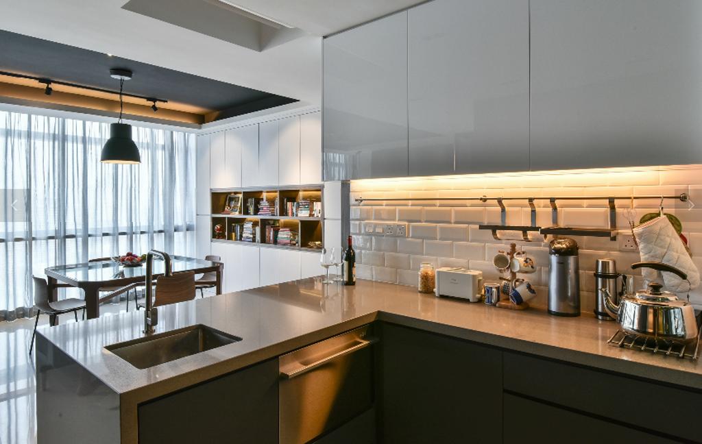 Industrial, Condo, Kitchen, The Capers, Interior Designer, Surface R Sdn. Bhd., Modern, Bookcase, Furniture, Indoors, Interior Design, Room