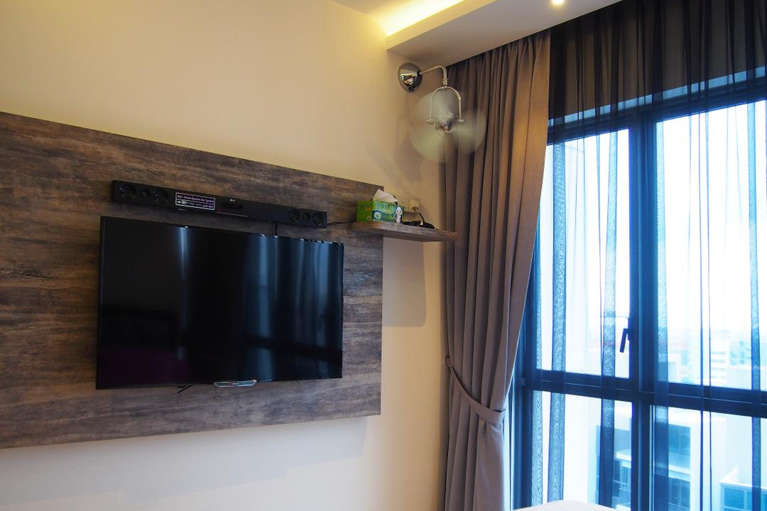 H20 Fernvale Link, Style Living Interior, Contemporary, Modern, Bedroom, Condo, Wall Mounted Tv, Sling Curtain, Tv Wooden Panel, False Ceiling, Downlight, Mini Fan