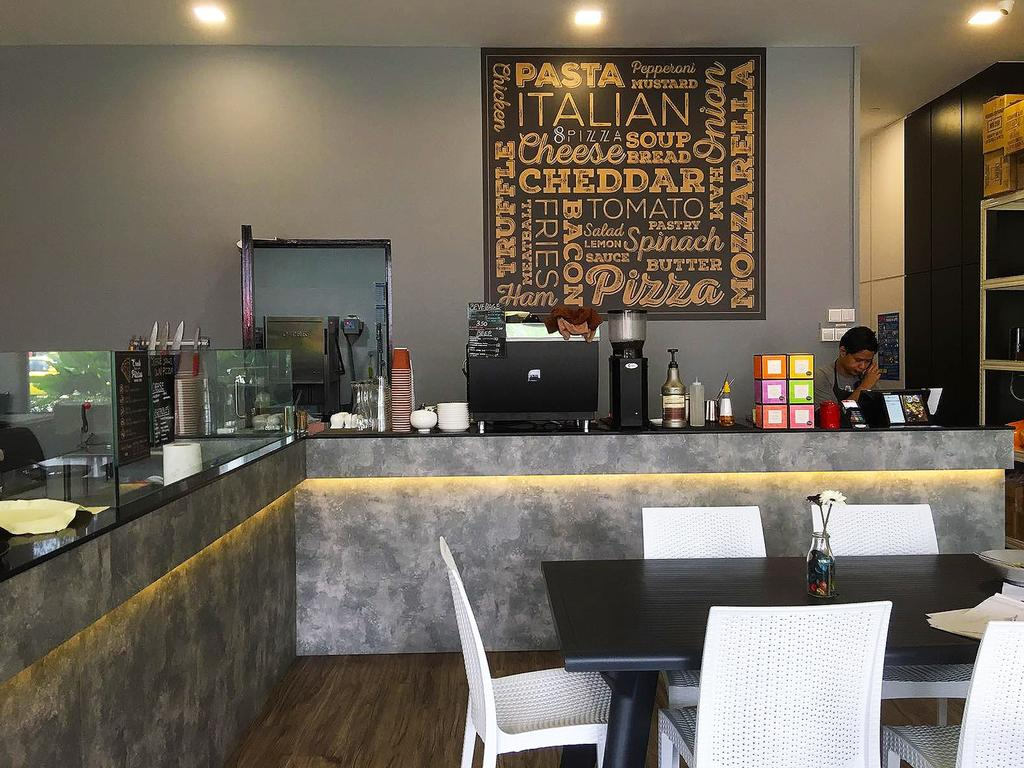 8 Pizza, Commercial, Interior Designer, Style Living Interior, Industrial, Scandinavian, Counter, Cove Lighting, Human, People, Person