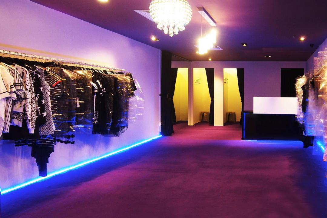 Far East Plaza, Style Living Interior, Traditional, Commercial, Retailer, Fitting Room, Wall Mounted Clothes Rack, Crystal Chandelier, Neon Light, Carpet Flooring, Purple Ceiling, Downlights, Clothing, Gown, Kimono, Robe, Lighting