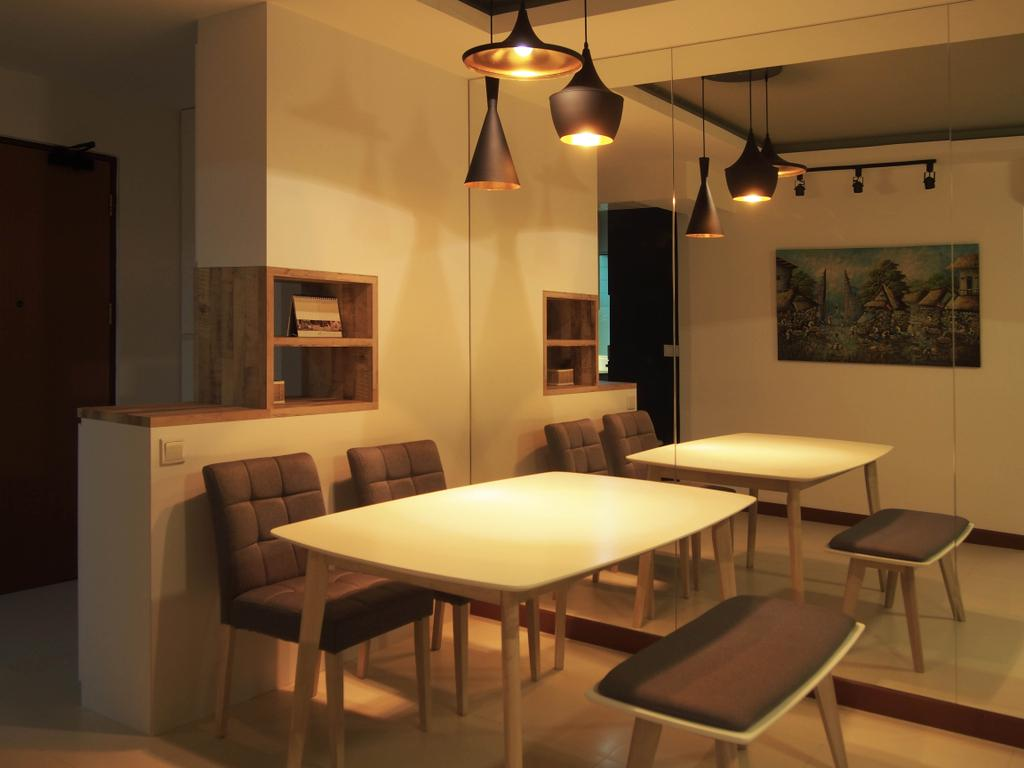 Scandinavian, HDB, Dining Room, Boon Tiong, Interior Designer, Style Living Interior, Scandinavian Dining Table, Scandinavian Dining Chair, Pendant Lighting, Track Light, False Ceiling, Divider, Couch, Furniture, Chair, Indoors, Interior Design, Room, Dining Table, Table, Art, Painting
