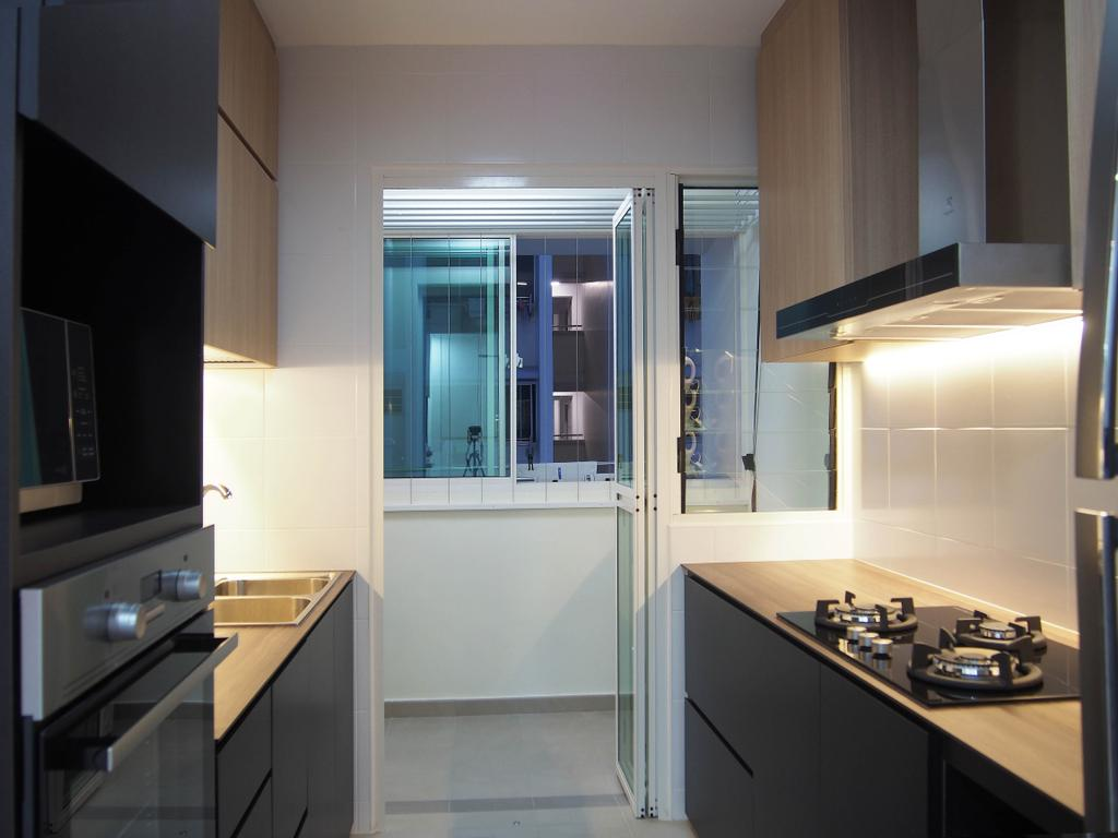 Scandinavian, HDB, Kitchen, Boon Tiong, Interior Designer, Style Living Interior, Swing Door, Cove Lighting, Built In Cupboard, Built In Appliances, Kitchen Hood, Counter Stove, Indoors, Interior Design, Room