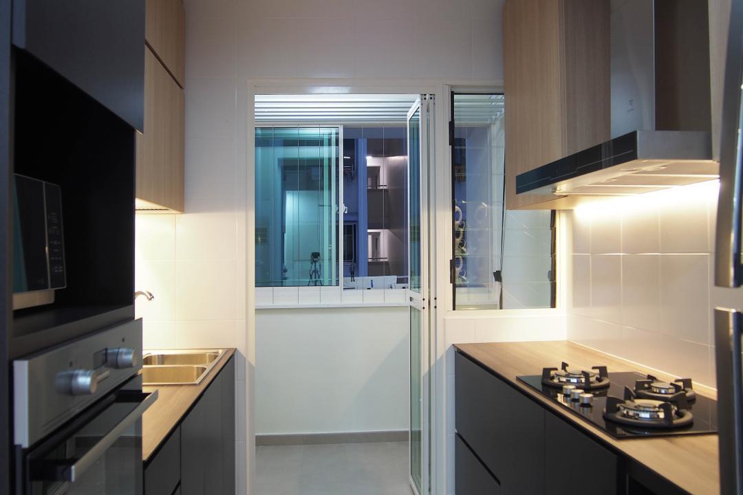 Boon Tiong, Style Living Interior, Scandinavian, Kitchen, HDB, Swing Door, Cove Lighting, Built In Cupboard, Built In Appliances, Kitchen Hood, Counter Stove, Indoors, Interior Design, Room