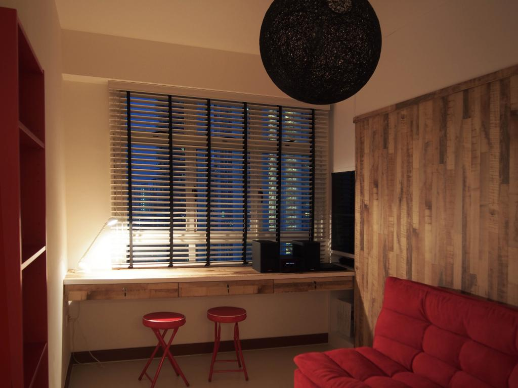 Scandinavian, HDB, Study, Boon Tiong, Interior Designer, Style Living Interior, Study Room, Wooden Wall Panel, Foldable Stool, Blinds, Shade, Balinese Round Lighting, Built In Study Table, Bar Stool, Furniture, Couch, Curtain, Home Decor, Shutter, Window, Window Shade, Table