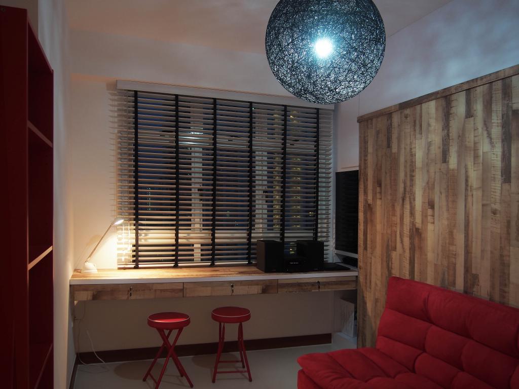 Scandinavian, HDB, Study, Boon Tiong, Interior Designer, Style Living Interior, Bar Stool, Furniture, Couch, Chandelier, Lamp