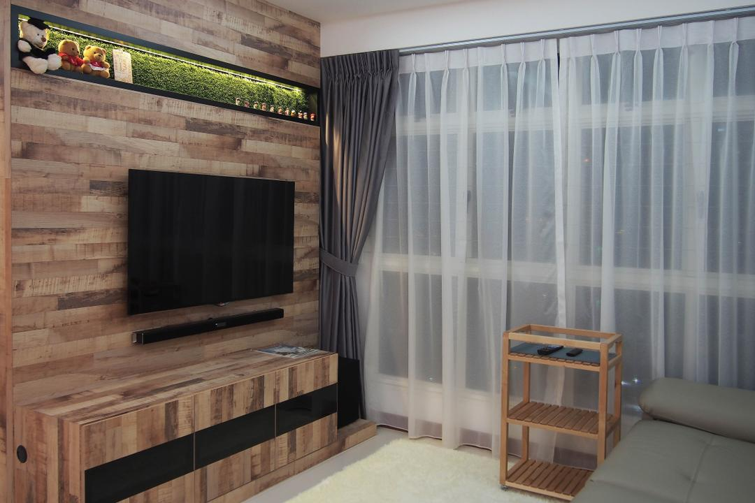 Boon Tiong, Style Living Interior, Scandinavian, Living Room, HDB, Tv Wall Panel, Sling Curtain, Built In Shelf, False Ceiling, Built In Console, Fluffy Carpet, Fireplace, Hearth