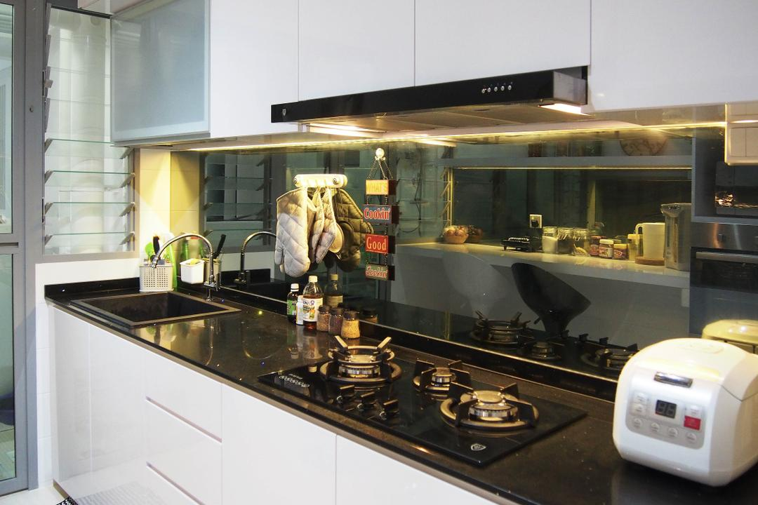 Upper Serangoon View, Style Living Interior, Industrial, Contemporary, Scandinavian, Modern, Vintage, Kitchen, HDB, Built In Cupboard, Kitchen Wall Panel, Kitchen Hood, Counter Stove, White Cupboard, Laminated Counter, Appliance, Electrical Device, Oven, Sink
