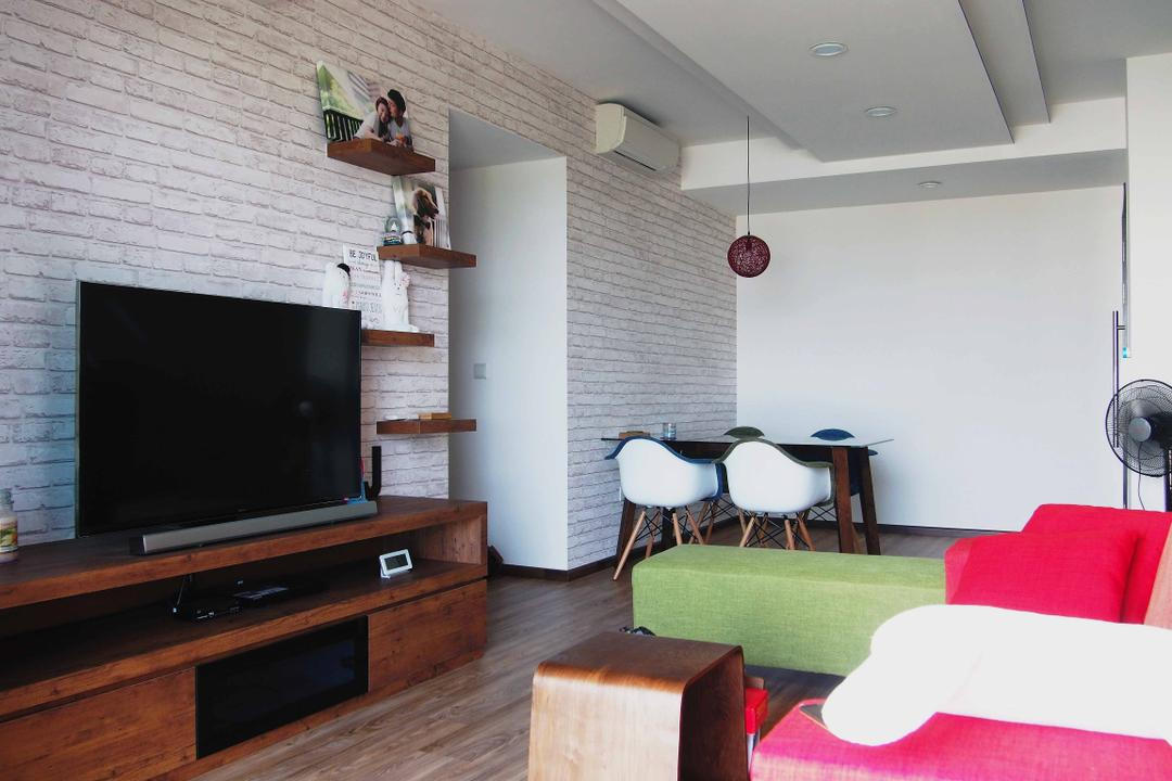 RiverParc Residences, Style Living Interior, Scandinavian, Living Room, Condo, Wallpaper, Tv Console Table, Wall Shelves, Dining Table, Dsw Chair, Pendant Lighting, False Ceiling, Downlights, Wooden Flooring, Wall White, Couch, Furniture, Indoors, Interior Design