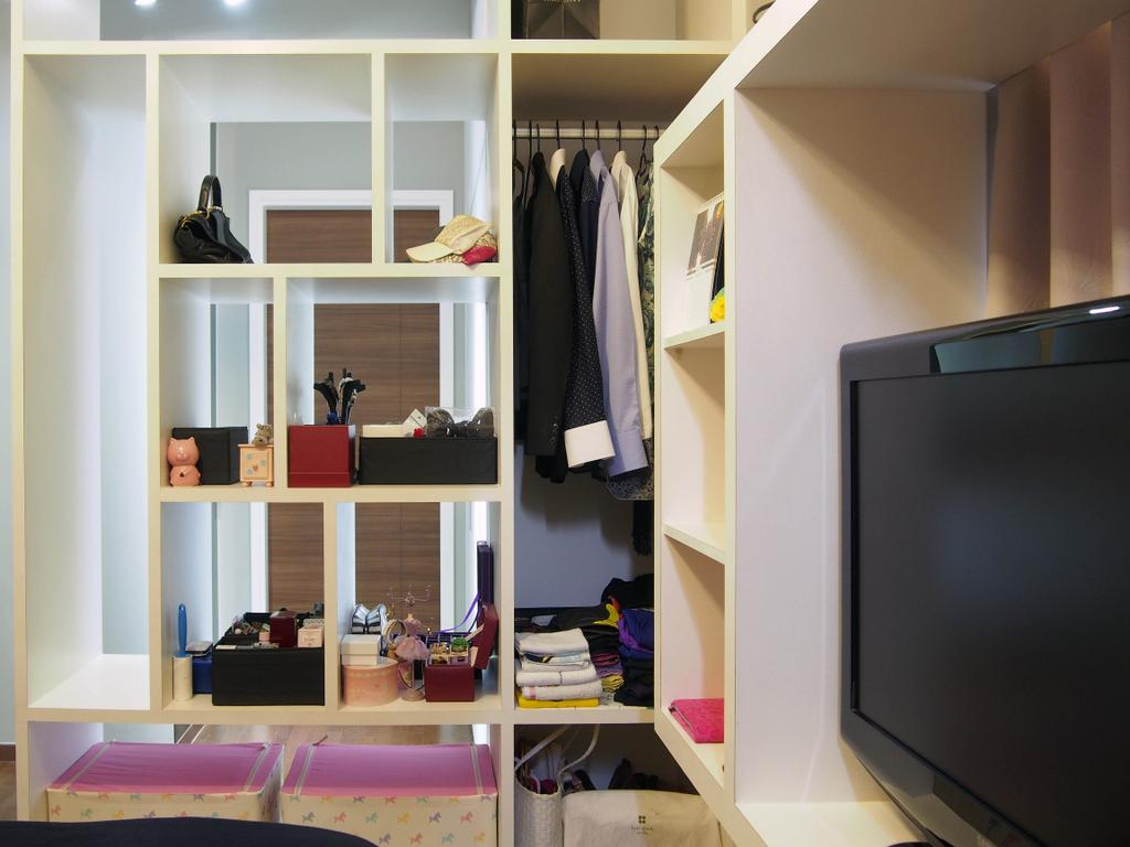 Eclectic, Condo, Bedroom, The Arc @ Tampines, Interior Designer, Style Living Interior, Built In Shelves, Walk In Wardrobe, Tv, Electronics, Lcd Screen, Monitor, Screen, Closet