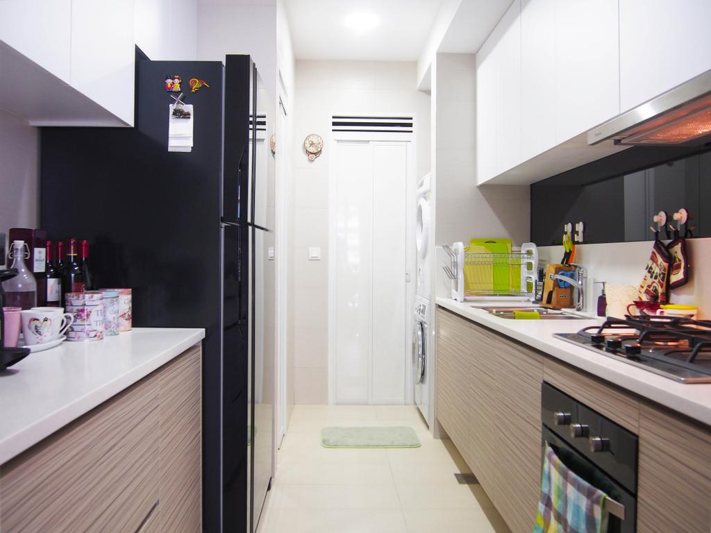 Eclectic, Condo, Kitchen, The Arc @ Tampines, Interior Designer, Style Living Interior, Kitchen Stove, White Cupboard, Built In Cupboard, Laminated Counter, Modern Kitchen, Built In Appliances, Kitchen Hood