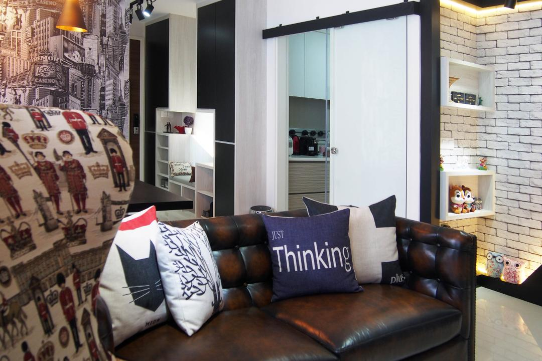 The Arc @ Tampines, Style Living Interior, Eclectic, Living Room, Condo, Chesterfield Sofa, Wording Cushion, Brick Wall, Cove Lighting, Built In Storage, Built In Cabinet, Wallpaper, Pendant Lighting, White Wall, Track Light, Couch, Furniture, Cushion, Home Decor, Pillow, Closet, Wardrobe, Door, Sliding Door