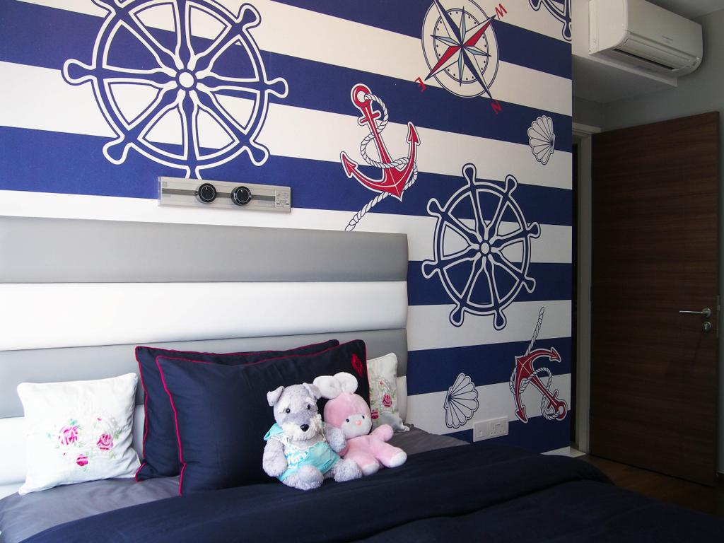 Eclectic, Condo, Bedroom, The Arc @ Tampines, Interior Designer, Style Living Interior, Nautical Wallpaper, Plushed Toys, Cushions