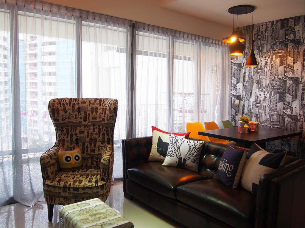 Eclectic, Condo, Living Room, The Arc @ Tampines, Interior Designer, Style Living Interior, Chesterfield Sof, Quirky Armchair, Picture Cushion, Sling Curtain, Wallpaper, Pendant Lighting, Couch, Furniture, Chair, Indoors, Room