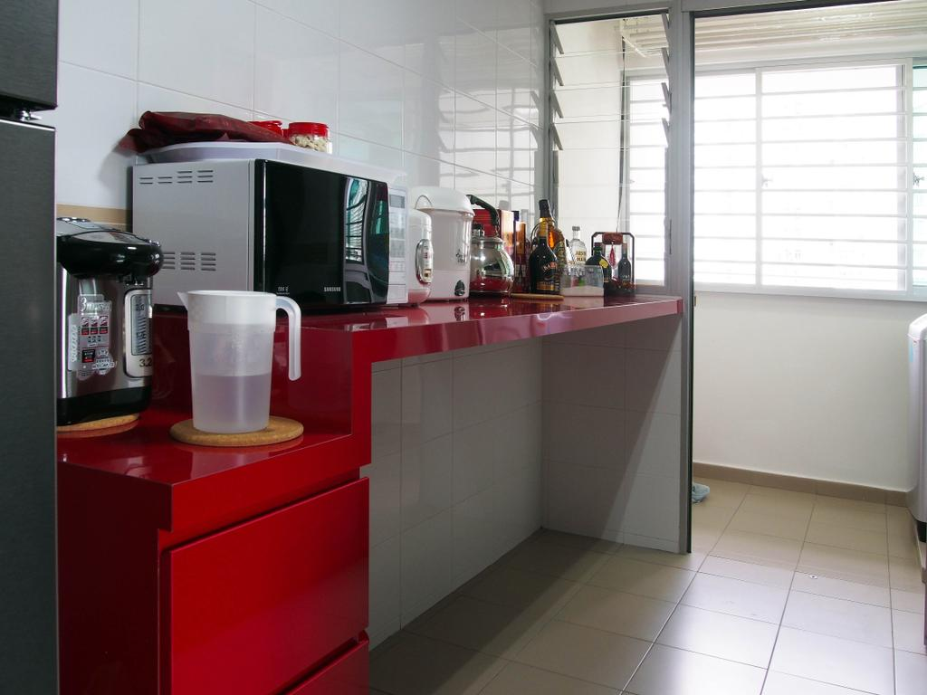 Modern, HDB, Kitchen, Sengkang West Way, Interior Designer, Style Living Interior, Appliance, Electrical Device, Microwave, Oven, Cup, Indoors, Interior Design, Room, Desk, Furniture, Table