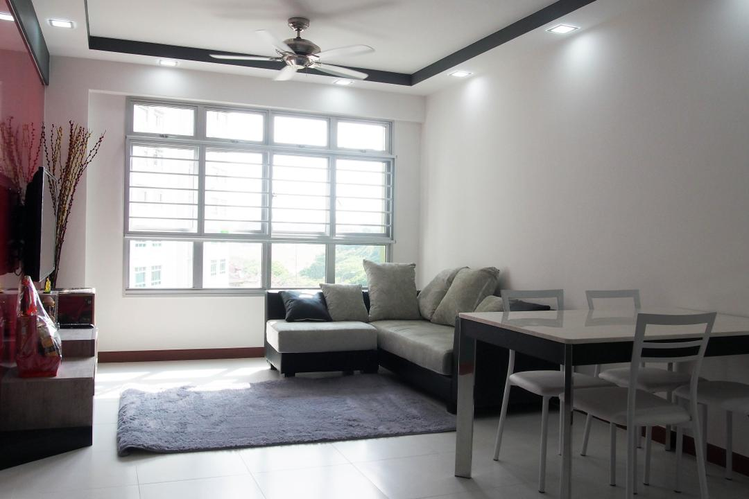 Sengkang West Way, Style Living Interior, Modern, Living Room, HDB, White Wall, Carpet, False Ceiling, Downlights, Modern Dining Table, Modern Dining Chair, Ceiling Fan, Flora, Jar, Plant, Potted Plant, Pottery, Vase, Dining Table, Furniture, Table, Chair, Couch, Indoors, Room