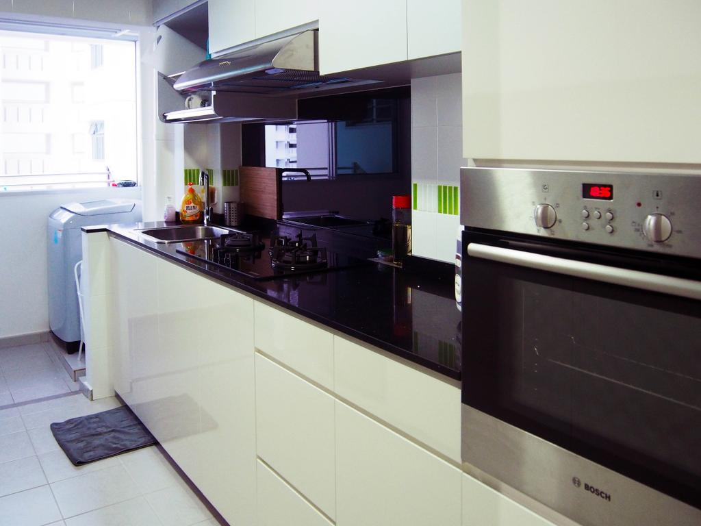 Scandinavian, HDB, Kitchen, Anchorvale Road, Interior Designer, Style Living Interior, Built In Appliances, White Cabinet, Built In Cabinet, Kitchen Hood, Washing Machine, Ceramic Tiles, Indoors, Interior Design, Room, Appliance, Electrical Device, Oven, Bathroom