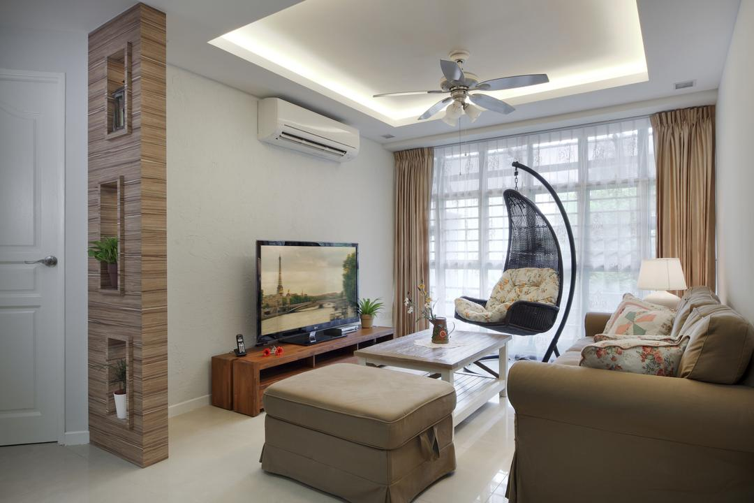 Punggol Road (Block 195B), Boon Siew D'sign, Traditional, Living Room, HDB, Partition, Layered Ceiling Top, Curtain, Double Layer Curtain, Hanging Chair, Indoor Hanging Chair, Sofa, Tea Table, Coffee Table, Couch, Furniture, Indoors, Interior Design, Chair