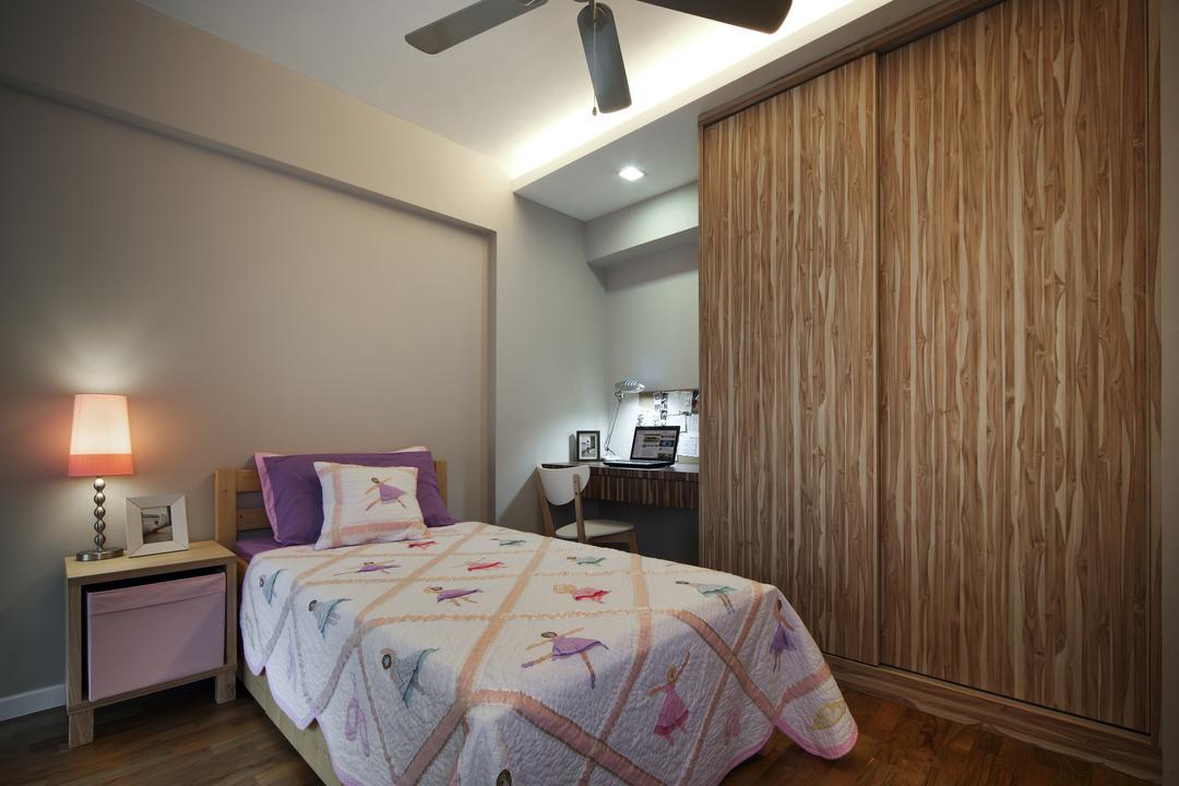 Punggol Road (Block 195B), Boon Siew D'sign, Traditional, Bedroom, HDB, Cove, Light, White Walls, Wooden Cupboard, Bedside Lamp, Lamp, Bedside Desk, Indoors, Interior Design, Room