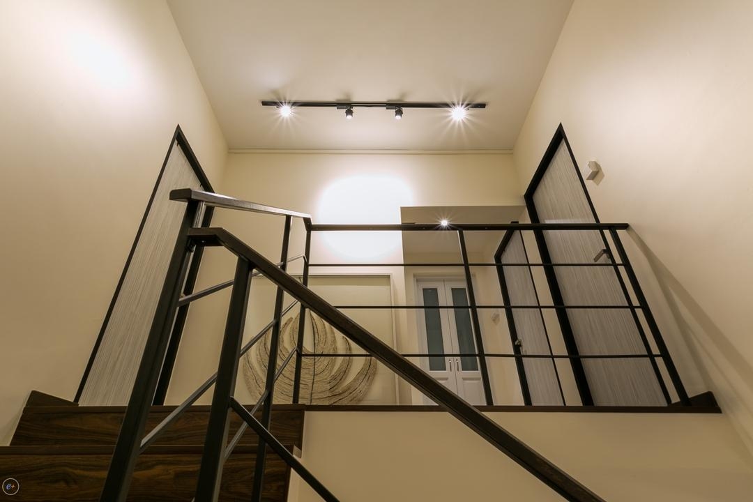 Ubi, Fineline Design, Contemporary, Living Room, HDB, Track Lights, Stair Case, Black Railings, White Walls, Wooden Stairs