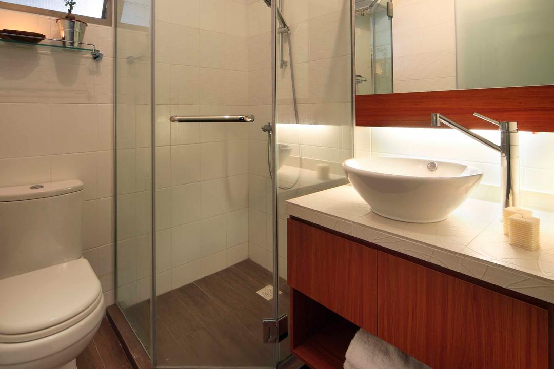 Punggol Road (Block 603B), Boon Siew D'sign, Traditional, Bathroom, HDB, Toilet, Shower, Sink, Wooden, Cabinet, Glass Doors, Glass Shower Doors, Wooden Flooring, White Basin, White Bowl Shaped Basin, Bowl Shaped Basin