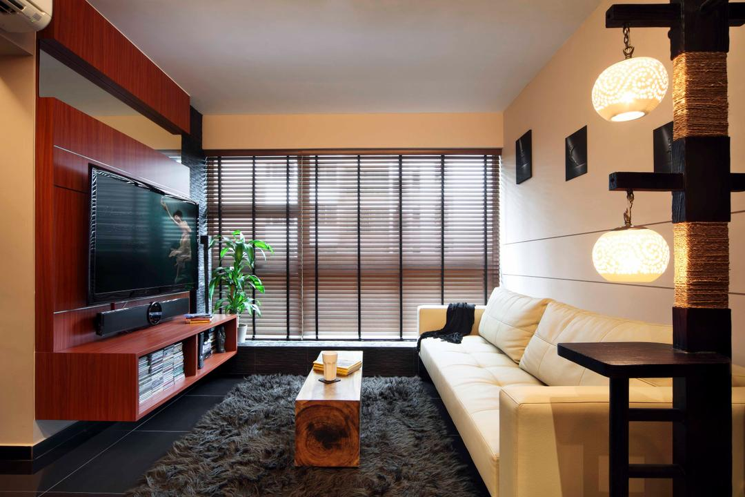 Punggol Road (Block 603B), Boon Siew D'sign, Traditional, Living Room, HDB, Rug, Console, Leather Sofa, Lantern, Light, Blinds, Wooden, Wall Mounted Tv Console, Wall Mounted Shelf, Flatscreen Tv, Sofa, White Sofa, Carpet, Chair, Furniture, Indoors, Interior Design, Dining Room, Room, Electronics, Monitor, Screen, Tv, Television
