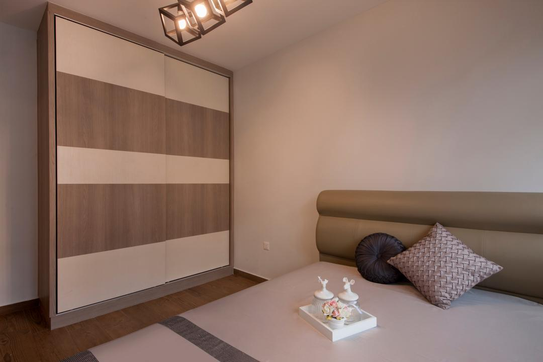 Keat Hong Colours (Block 810B), Starry Homestead, Scandinavian, Bedroom, HDB, Built In Wardrobe, Cube Lighting, Pendant Lighting, Sliding Wardrobe, Indoors, Interior Design
