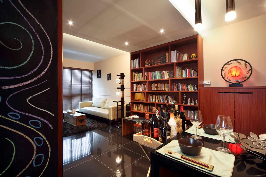 Punggol Road (Block 603B), Boon Siew D'sign, Traditional, Dining Room, HDB, Dining Table, Book Shelf, Brown Cabinets, Open Shelves, Open Book Shelves, Bottle, Alcohol, Beverage, Drink, Liquor, Indoors, Interior Design
