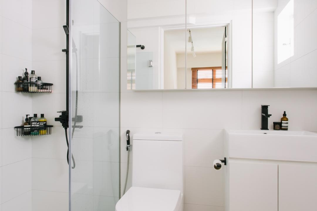 Waterway Woodcress (Block 666A), Third Avenue Studio, Minimalistic, Bathroom, HDB, Rainshower, Monochrome, White And Black, Black And White, Black Rainshower, Vanity Cabinet, Tiles, Indoors, Interior Design, Room