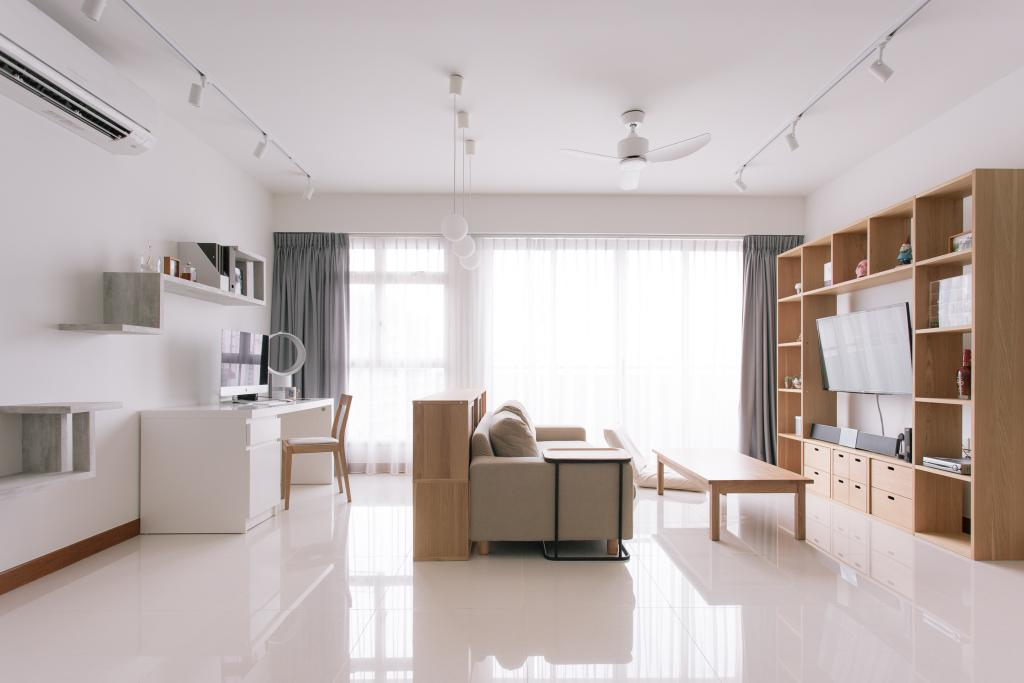 Minimalistic, HDB, Living Room, Waterway Woodcress (Block 666A), Interior Designer, Third Avenue Studio, Muji, Muji Theme, Clean, Bright And Airy, Spacious, Airy, Bright, Neutral Colours, Tiles, Expansive, Bookcase, Indoors, Interior Design, Dining Table, Furniture, Table
