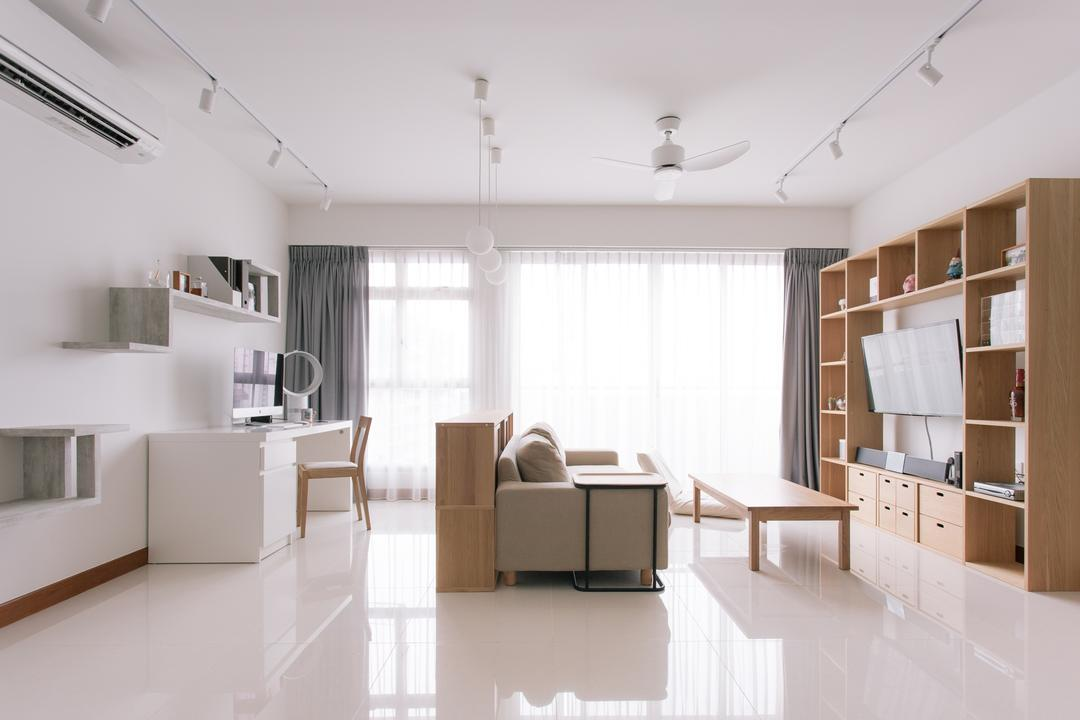 Waterway Woodcress (Block 666A), Third Avenue Studio, Minimalistic, Living Room, HDB, Muji, Muji Theme, Clean, Bright And Airy, Spacious, Airy, Bright, Neutral Colours, Tiles, Expansive, Bookcase, Indoors, Interior Design, Dining Table, Furniture, Table