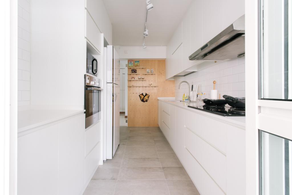Minimalistic, HDB, Kitchen, Waterway Woodcress (Block 666A), Interior Designer, Third Avenue Studio, Pegboard, Wall Display, Feature Wall, Appliances, Oven, Fridge, Stove, Hood, Plywood, Peg Board