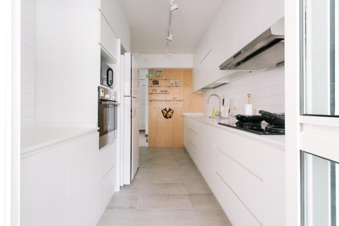 Waterway Woodcress (Block 666A), Third Avenue Studio, Minimalistic, Kitchen, HDB, Pegboard, Wall Display, Feature Wall, Appliances, Oven, Fridge, Stove, Hood, Plywood, Peg Board