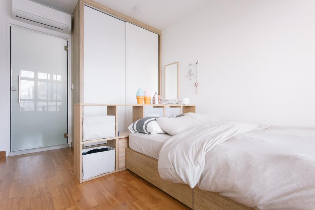 Minimalistic, HDB, Bedroom, Waterway Woodcress (Block 666A), Interior Designer, Third Avenue Studio, Bed With Storage, Storage Bed, Monochrome, White And Woody, White And Brown, Cubbyhole, Cabinet, Wall Mirror, Dresser, Building, Housing, Indoors, Loft, Interior Design, Room