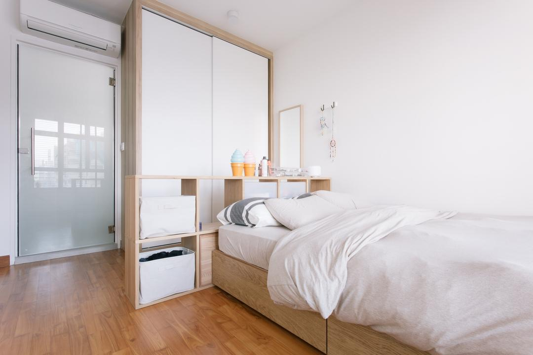 Waterway Woodcress (Block 666A), Third Avenue Studio, Minimalistic, Bedroom, HDB, Bed With Storage, Storage Bed, Monochrome, White And Woody, White And Brown, Cubbyhole, Cabinet, Wall Mirror, Dresser, Building, Housing, Indoors, Loft, Interior Design, Room