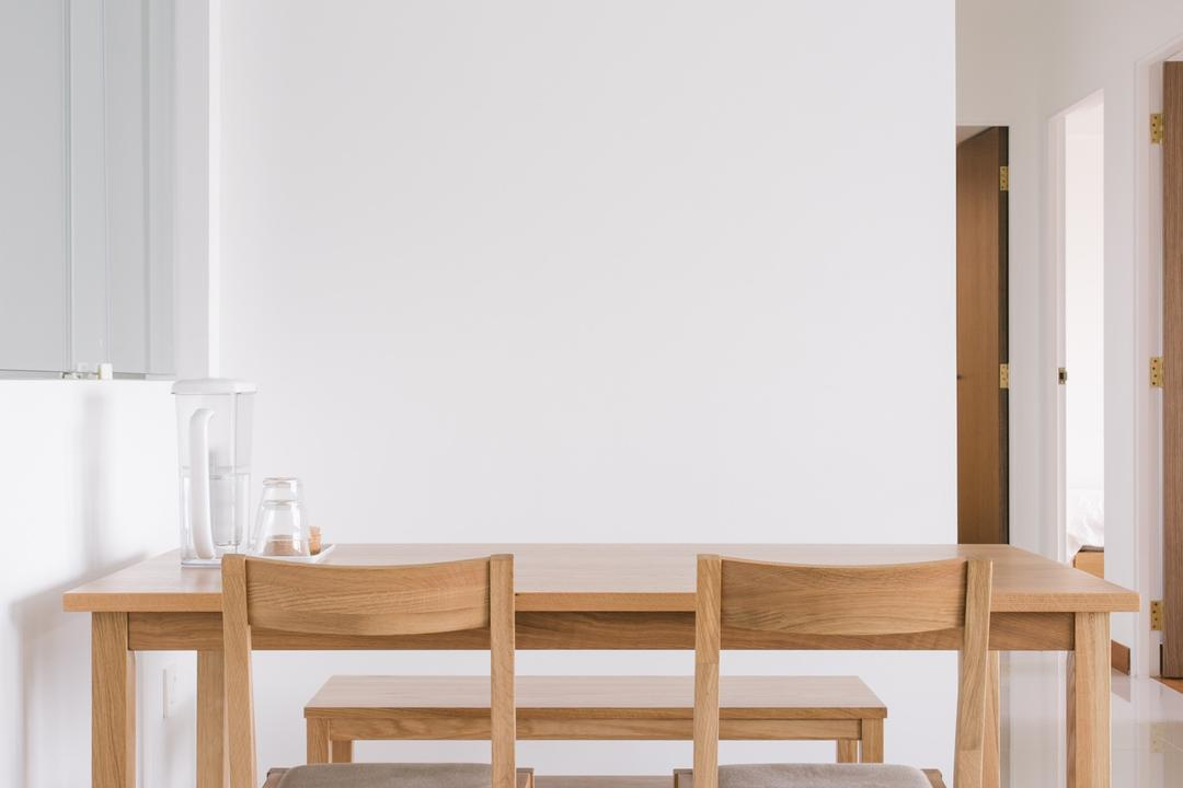 Waterway Woodcress (Block 666A), Third Avenue Studio, Minimalistic, Dining Room, HDB, Dining Bench, Wooden Dining Table, Wooden Chairs, Wooden Dining Chairs, Half Hack, Dining Table, Furniture, Table, Shelf, Chair, Coffee Table, Bench