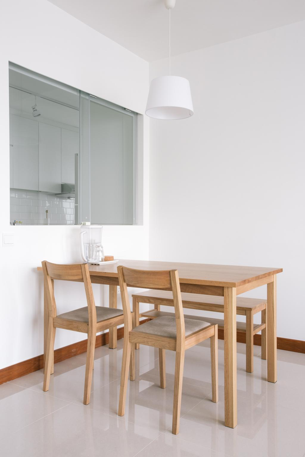 Minimalistic, HDB, Dining Room, Waterway Woodcress (Block 666A), Interior Designer, Third Avenue Studio, Half Hack, Sliding Window, Pendant Light, White And Brown, Monochrome, Neutral Colours, Dining Table, Furniture, Table, Chair