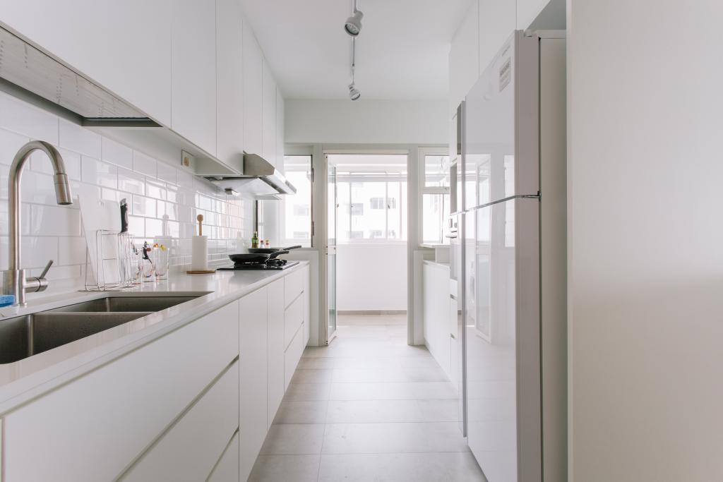Minimalistic, HDB, Kitchen, Waterway Woodcress (Block 666A), Interior Designer, Third Avenue Studio, Galley Kitchen, Tiles, Sink, Service Yard, Indoors, Interior Design, Room