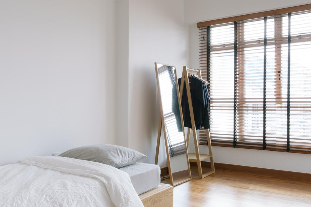 Waterway Woodcress (Block 666A), Third Avenue Studio, Minimalistic, Bedroom, HDB, Guest Room, Venetian Blinds, Wooden Blinds, Bed With Storage, Drawer Bed, Bed Drawers, Wood Flooring, Parquet, Standing Mirror, Coat Rack, Clothes Rack, Monochrome, Bright And Airy, Storage Bed