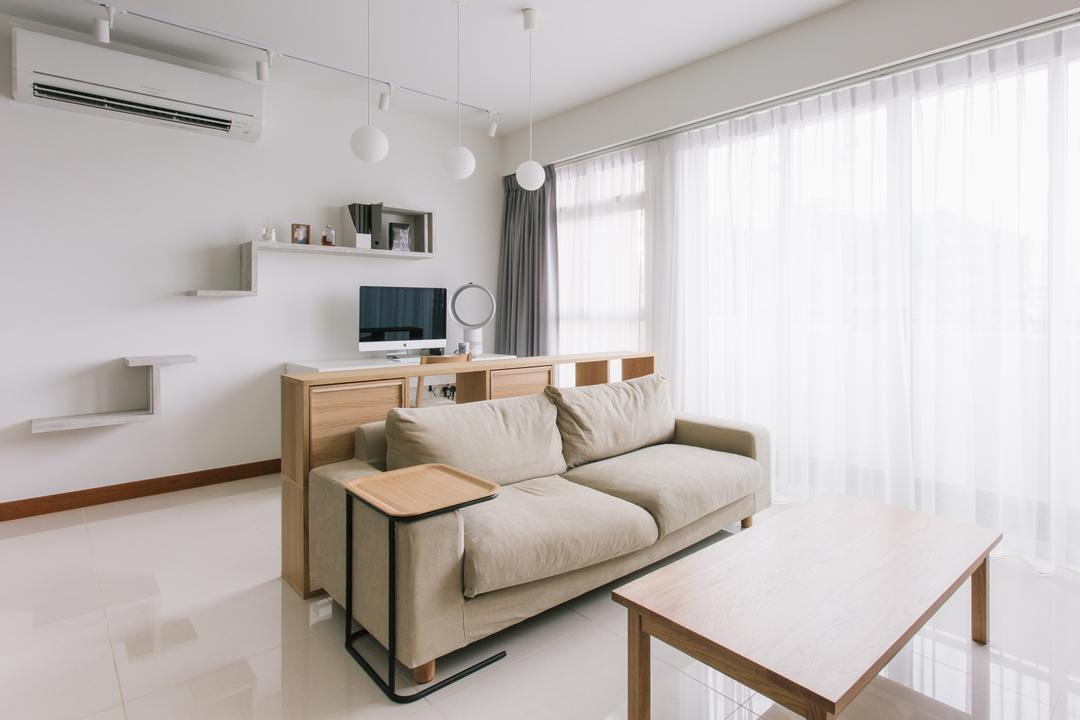 Waterway Woodcress (Block 666A), Third Avenue Studio, Minimalistic, Living Room, HDB, Fabric Sofa, Coffee Table, Side Table, Muji, Clean, Uncluttered, Zen, Easy To Clean, Easy To Maintain, Wall Shelves, Furniture, Indoors, Interior Design, Banister, Handrail